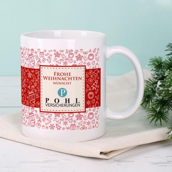 Weihnachtliche Tasse mit Ihrem Firmenlogo