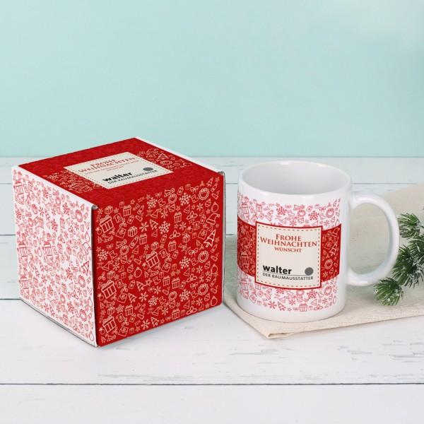 Tasse und Geschenkverpackung im Set zu Weihnachten mit Ihrem Firmenlogo