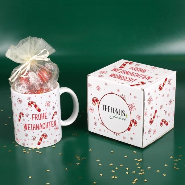 Süßes Weihnachtspräsent - Tasse gefüllt mit Lindor-Kugeln und Geschenkverpackung