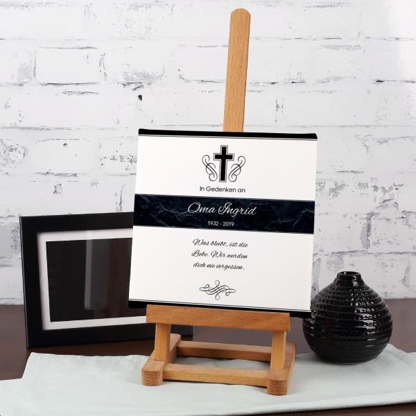 Gedenkleinwand mit Kreuz, Name und Wunschtext - 20 x 20 cm