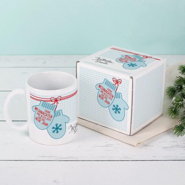Tasse mit Geschenkverpackung zu Weihnachten mit Ihrem Firmenlogo