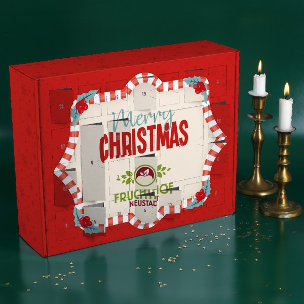"Adventskalender ""Merry Christmas"" mit Firmenlogo zum Selbstbefüllen"