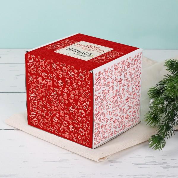 Kleine Geschenkverpackung mit weihnachtlichen Details und Ihrem Firmenlogo