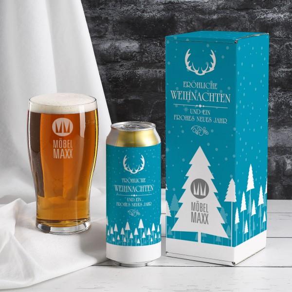 Weihnachtliches Bier-Geschenkset mit Firmenlogo
