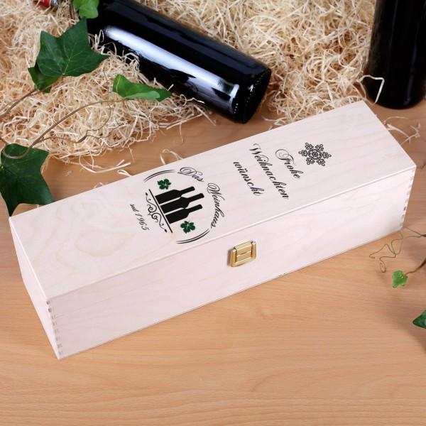 Geschenkbox aus Holz bedruckt mit Firmenlogo und Frohe Weihnachten