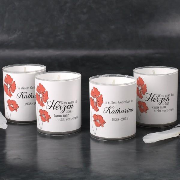 """4 personaliserte Teelichter """"Was man im Herzen trägt"""""""