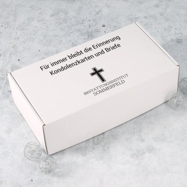Übergabe-Box von Kondolenzbriefe mit Firmenlogo und Wunschtext