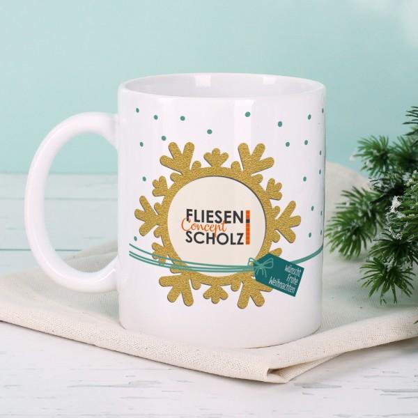Schneesternen-Tasse mit Ihrem Firmenlogo zu Weihnachten