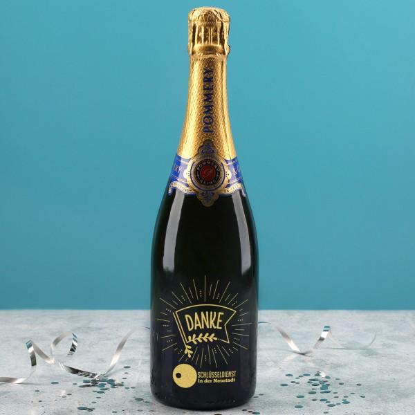 Pommery Champagner als Dankeschön mit Firmenlogo