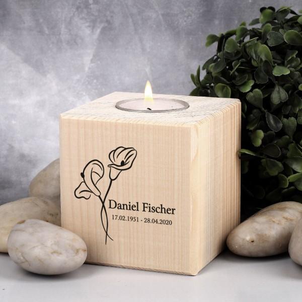 Bedrucktes Trauer Teelicht aus Holz mit Calla Blume