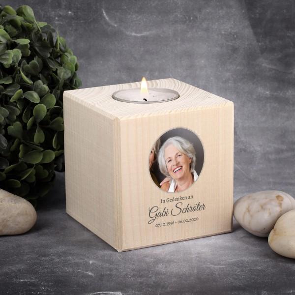Gedenk-Teelicht aus Holz mit Foto bedruckt