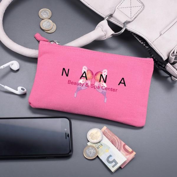 Beautycase, pink inkl. Druck des Logos in zwei versch. Größen