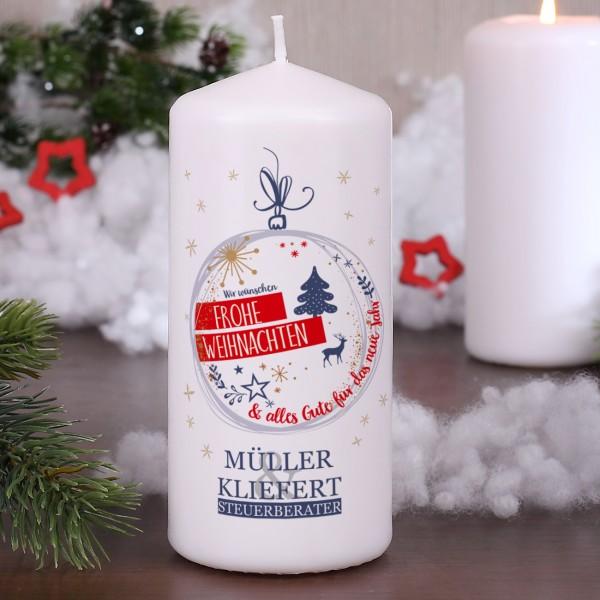 Weihnachtliche Kerze mit Firmenlogo
